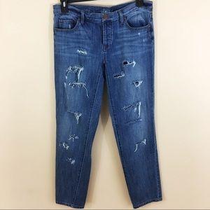 - LOFT Distressed Ripped Jeans Boyfriend Cut SZ 28